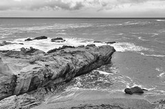 Pacific Ocean in November (rschnaible) Tags: ocean california sea bw usa white seascape black west texture beach water landscape photography coast us san pacific outdoor rocky monotone coastal western mateo rugged