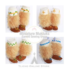 #Miniature #Mukluks made by the #Gamètì sewing group now available on the http://onlinestore.tlicho.ca (Tlicho Online Store) Tags: miniature mukluks gamètì