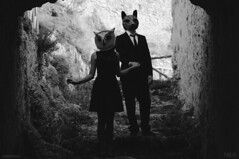 So close (davezombiee) Tags: blackandwhite castle art love nature fashion animal forest project dark fantastic couple wolf mask magic moda elegant fables allaperto wintercroft
