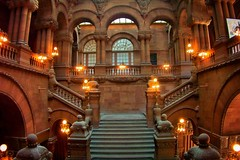 New York State Capitol ~ Albany New York ~ Million Dollar StairCase ~ Historic (Onasill ~ Bill Badzo) Tags: park plaza ireland windows light chimney sky ny newyork building texture wales architecture stairs facade see scotland us site mood lafayette moody arch exterior thomas district interior united fixtures nation skylight property style atmosphere indoor nelson landmark historic gargoyle textures architect henry capitol national staircase albany government neo vault states must tours romanesque perry attraction fuller issac richardson revival stae renasissance richardsonian albanycounty contributing nrhp rockeffer emprirestateplaza onasill eiditz empirestateplazacapitolparl