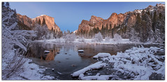 "Gates of the Valley-Sunset at Yosemite! (Joalhi ""Around the World"") Tags: gatesofthevalley capitan cathedralrock reflection mercedriver winter snow ice crystals mariposa california yosemitenationalpark"