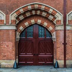 St Pancras Door (JB_1984) Tags: door uk england london station arch unitedkingdom bricks railway railwaystation squareformat kingscross stpancras brickwork londonboroughofcamden stpancrasinternational
