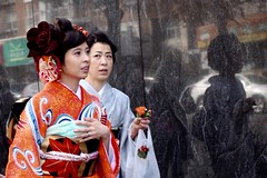 Parallel Worlds (Anne Marie Clarke) Tags: costumes orange reflections japanese women marble tension anxiety flushing kimonos blackmarble