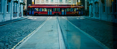 The Wheels On The Bus (DobingDesign) Tags: street reflection bus london glass lines traffic wheels transport perspective cobblestones cobbles aldgate londonstreets londonbus yellowline tfl transportforlondon minories