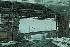 Snow City (i) (sarah-sari19) Tags: road street city bridge winter urban snow trafficlights drive march alone driving empty apocalypse overpass windshield hdr emptystreets apocalyptic