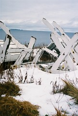 Chairs in the Snow (Rachael.Robinson) Tags: winter canada color film beach nature 35mm outside island chairs fujifilm campobello