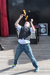 Sighteeing along Fisherman's Wharf (DavezPicts) Tags: sanfrancisco ca fire stage entertainment fireeater