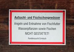 Fischschongewsser. (universaldilletant) Tags: signs schilder sign schild rathen wasserpflanzen fischfutter fischschongewsser