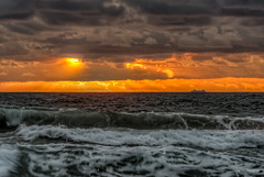 Orange (JustAddVignette) Tags: ocean sea sky sun seascape water clouds sunrise dawn landscapes early waves sydney australia newsouthwales northernbeaches seawater cloudysunrise warriewoodbeach