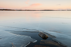 Opening and rock (- David Olsson -) Tags: winter sunset lake seascape cold ice nature water rock stone landscape nikon sundown sweden outdoor january crack karlstad opening fx vr vnern januari d800 vrmland wintry 1635 2016 1635mm skutberget leefilters davidolsson 06hard 1635vr