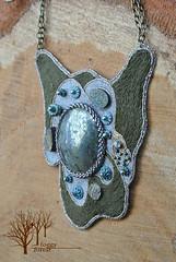 The Wanderer pendant_4 (~Gilven~) Tags: green beads handmade linen embroidery silk jewelry bead pearl swarovski beading pendant pyrite chalcopyrite beadembroidery japanesebeads foggyforest swarovskipearl