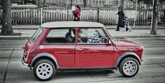 Big man in a little car (Paul B0udreau) Tags: street people toronto ontario canada nikon samsung niagara master layer minicooper redcar ribbet tonemapping nikkor1855mm queensteast d5100 samsungmaster paulboudreauphotography nikond5100 photoshopcc