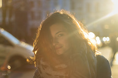 Sunshine (Shootz photographer) Tags: street city light sunset summer portrait sky people orange sun color love girl smile sunshine yellow backlight hair golden spring colorful warm pretty peace belgium streetphotography headshot flare flares peacefull