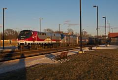 Freezing my Amtrak off (PrairieRailfan) Tags: amtrak depot bnsf southwestchief chicagosub amtk42 p42dc heritageunit nikond300 downersgroveilbelmontave copyright2016michaelmatalis