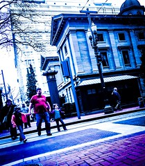 Where Old Meets New (TMimages PDX) Tags: road street city people urban buildings portland geotagged photography photo image streetphotography streetscene sidewalk photograph pedestrians pacificnorthwest avenue vignette fineartphotography iphoneography