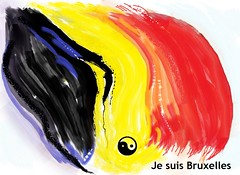 je-suis-Brussels (Cheryne) Tags: art watercolor belgium belgique drawing flag yang solidarity yinyang yin belge jesuisbruxelles