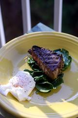 Steak and Eggs (I <3 Bokeh) Tags: steak fiestaware spinach poachedeggs