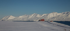 The red house and the white mountains. (joningic) Tags: winter red sea sky white house mountain snow mountains nature iceland whitemountains redhouse dalvk northiceland dalvkurbygg