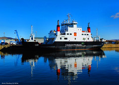 Scotland Greenock the car ferry Coruisk in the ship repair dock before being worked on 7 March 2016 by Anne MacKay (Anne MacKay images of interest & wonder) Tags: car by ferry anne march scotland greenock dock ship picture 7 repair mackay caledonian 2016 macbrayne coruisk xs1