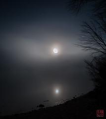 Misty Moon (Mitymous) Tags: longexposure moon mist fog night moonlight tullylake spring2016