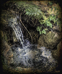 DSC00015TinyWaterfall (clabudak) Tags: texture nature water rock painting landscape waterfall little outdoor scene topaz creativephotography