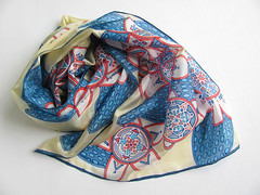 Bright contrasting colors floral hand painted silk scarf - blue, red, sand, white (simutes) Tags: flowers blue red white abstract floral leaves scarf sand beige silk handpainted silkscarf blueleaves lightbrown naturalsilk handpaintedscarf