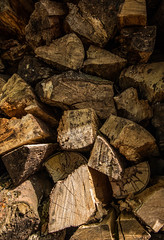 Pile of wood (WillemijnB) Tags: wood brown texture outdoor pile marron heating coup brun hout bois bruin chauffage stapel stoken stre