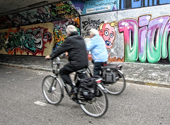 Generations (Jan Kranendonk) Tags: old people baby holland art senior dutch graffiti cycling couple young bikes tunnel delft age generations lifecycle