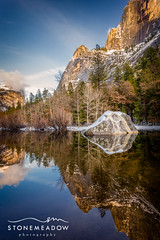 yosemite mirror lake (www.stonemeadow.com.au) Tags: california park travel sky usa mountain lake green tourism nature rock clouds america forest landscape mirror view scenic falls national valley yosemite yosemitenationalpark
