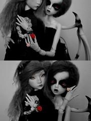 One girl, one rose. (junjun_niki) Tags: bw white bird girl ball doll skin nb isabel 111 bjd ninon msd jabberwocky jointed jubjub kbody cerisedolls dollchateau