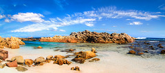 Yallingup Panorama (jan_clewett) Tags: blue holiday water clouds river surf waves teal peaceful australia scene tourist western margaret rockpool yallingup torquoise