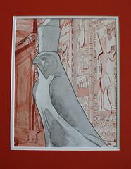 Vue sur le Nil - View from the Nil (speederpoussin) Tags: sculpture monument architecture watercolor sand desert aquarelle egypt sable egyptian pyramids hieroglyphs egypte dsert historique hiroglyphes faucon egyptien