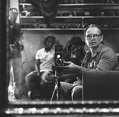 Self Portrait with Karim Sidib in the Studio of his Father Malick Sidib, Bamako, Mali (Alfred Weidinger) Tags: africa selfportrait mamiya kodak trix 400 westafrica afrika mali karim westafrika bamako trix400 c330 malick malicksidibe sidibe alfredweidinger karimsidibe