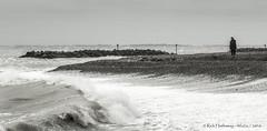 Pounding (rhfo2o - rick hathaway photography) Tags: blackandwhite bw beach canon mono se seaside waves westsussex elmer bognor seadefences elmersands canoneos7d groynemarker rhfo2o