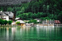 Pier in Schnau am Knigssee, Bavaria, Germany (UweBKK ( 77 on )) Tags: trees lake mountains alps water forest germany bayern deutschland bavaria hotel see harbor pier boat europa europe minolta 7d konica dynax alpen dslr knigssee