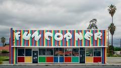 FUN CORNER [Explored] (Curt Bianchi) Tags: california sign corner fun stripes storefront signboard sanbernardino curtbianchi funcorner