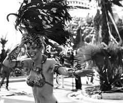 cArnival: slip, laugh, smile (gregjack!) Tags: street people bw woman france french happy nice cotedazur candid feathers streetphotography parade laugh laughter headress nicecarnival kingofmedia