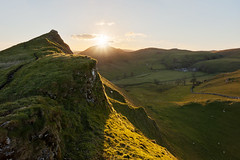 Chrome Sunset (matrobinsonphoto) Tags: light sunset summer sun sunlight mountain green beautiful rural golden evening countryside spring dale dusk district dove derbyshire hill peak ridge chrome valley hour summit limestone burst staffordshire dovedale parkhouse