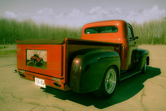 Stained Glass Ford (Kat Hatt) Tags: ford truck antique stainedglass tailgate redtruck napanee stainedglasstailgate