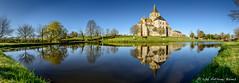 Abbaye de Cerisy-la-Foret (DrAnthony88) Tags: france reflection pool fishing pond peaceful bluesky chruch normandy historicbuilding earlymorninglight serence religiousbuilding panoramastich nikond810 abbayedecerisylafort nikkor24120f4gafsvrii