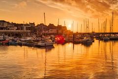 Bridlington Harbours' Sunrise (GIgaYork) Tags: sky sun water clouds sunrise boats 50mm dawn high nikon dynamic harbour ships range hdr bridlington brid d810
