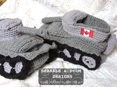 Tank Slippers 02a (zreekee) Tags: canada crochet saskatchewan slippers tanks tankslippers sparkledoomdesigns