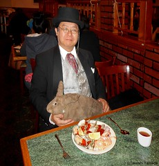 Dr. Takeshi Yamada and Seara (Coney Island sea rabbit) at the Queens Buffet Chinese restaurant in Queens, New York on April 17, 2016. 20160417. DSCN5036=PV-3030C. Queens Buffet (searabbits23) Tags: ny newyork sexy celebrity rabbit art hat fashion animal brooklyn sushi asian coneyisland japanese star restaurant tv google king artist dragon god manhattan famous gothic goth uma ufo pop taxidermy vogue cnn tuxedo bikini tophat unitednations playboy entertainer oddities genius mermaid amc mardigras salvadordali performer unicorn billclinton seamonster billgates aol vangogh curiosities sideshow jeffkoons globalwarming mart magician takashimurakami pablopicasso steampunk damienhirst cryptozoology freakshow seara immortalized takeshiyamada roguetaxidermy searabbit barrackobama ladygaga climategate  manwithrabbit