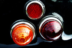 Rear Light Trio (dfgumby) Tags: old light red orange black detail reflection classic car closeup lights amber