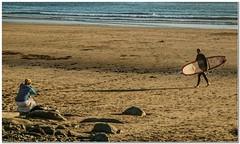 Caught on camera (Hugh Stanton) Tags: sunset beach girl photographer surfer