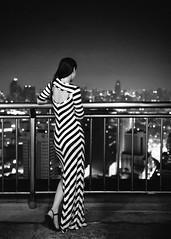 Goodnight Bangkok (DEARTH !) Tags: city travel blackandwhite skyline night thailand asia southeastasia moody dress nightscape bangkok stripes dearth rooftopbar lauraberberich