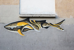 CO2 (Anne-Christelle) Tags: streetart collage shark requin artderue paris11 paris75011 75011paris