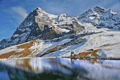 "Blue reflection . The Jungfrau railway, the Glacier of the Eiger , The Mnch ,  The Eiger & the   Fallbodensee ,""J'ai le droit de vivre heureux . "" No. 1428. (Izakigur) Tags: blue snow alps ice nature train alpes landscape liberty photography schweiz switzerland europa europe flickr suisse suiza swiss feel mother bern grindelwald alpen helvetia nikkor svizzera berne eiger jungfraujoch lepetitprince cian feelings berna musictomyeyes berneroberland sussa kleinescheidegg suizo jungfraubahn myswitzerland kantonbern d700 nikond700 nikkor2470f28 izakigur thejungfrauregion cantonofbern suisia"