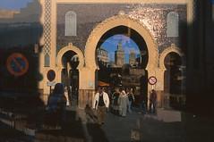The Gate to Wonderland (BlackJack the Backpacker) Tags: travel blue doubleexposure velvia morocco fez fes islamic bab bluegate filmphotography rvp50 boujeloud analoguephotography