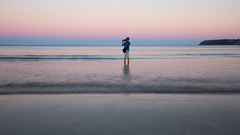 night watch (keith midson) Tags: ocean camera boy sunset beach water photographer horizon wading boatharbour quinnkm